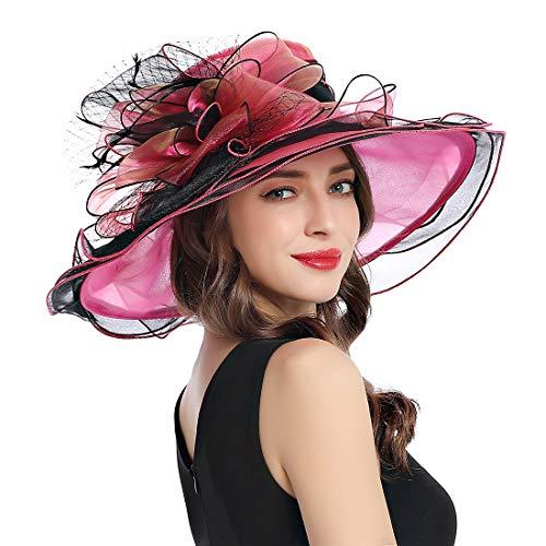 Women's Organza Church Derby Fascinator Cap Kentucky Tea Party Wedding Hat (11A-Wine Red) ()