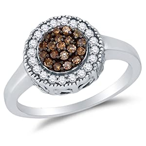 Size 6.75 - 925 Sterling Silver Chocolate Brown & White Round Diamond Halo Circle Engagement Ring - Channel Set Flower Center Setting Shape (1/3 cttw.)
