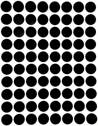"Color Coding Labels 1/2"" Round - Dot Stickers -- Half inch rounds BLACK sticker -- 1200 pack"