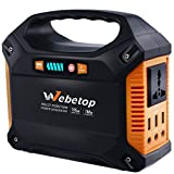 Webetop Portable Generator 155Wh Power Inverter Battery 100W 42000mAh Camping CPAP Emergency Home Use UPS Power Source Charged by Solar Panel/ Wall Outlet/ Car with 110V AC Outlet,3 DC 12V,3 USB Port