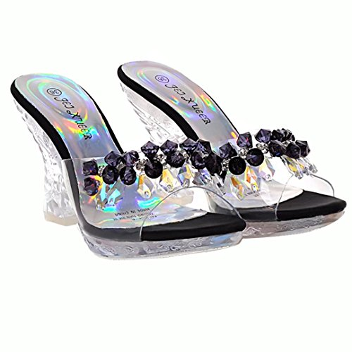 Sliders Slippers Summer Sandals AIYOUMEI Black Block Clear on Heel Slip Toe High Platform Peep Ladies qvTq8f