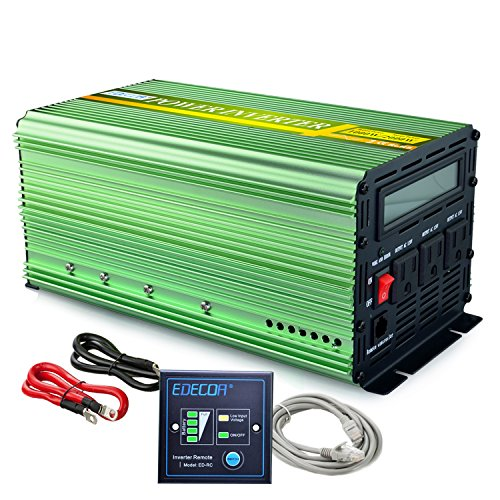 EDECOA Power Inverter 1000 Watt Pure Sine Wave DC 12V to 110V AC with LCD Display and Remote Controller for Car (Inverter 1000 Watt)