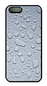 Gray Water Droplets Polycarbonate Custom iPhone 5S/5 Case Cover - Black