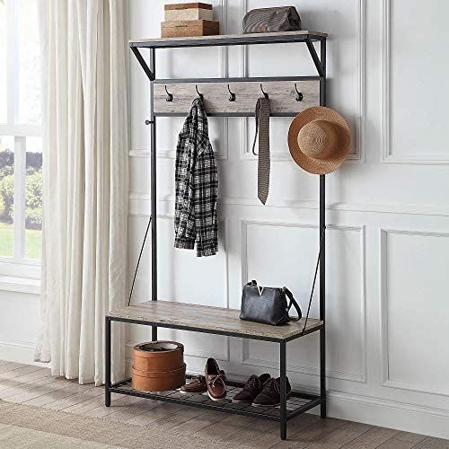 BELLEZE 70 Industrial Bench Hall Tree Entryway Storage Shelf Coat Rack Metal Frame, Gray Wash