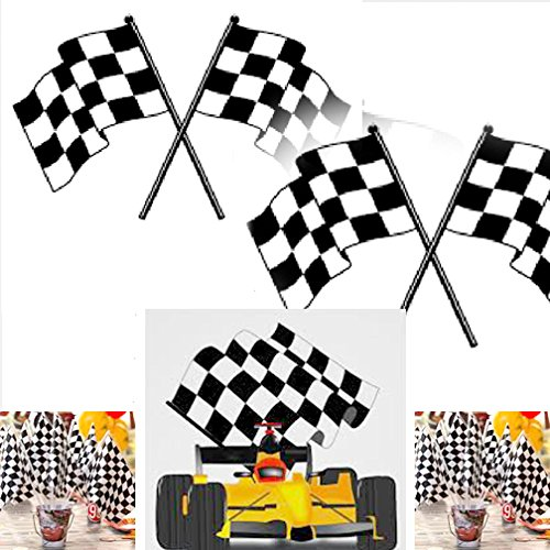 Adorox 72Pcs Checkered Mini Race Flags Nascar Theme Party Favor Decoration (Black/White (72 (Black & White Party Theme)