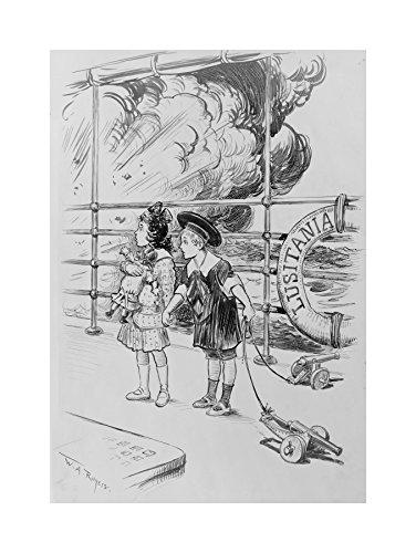 Painting Children LUSITANIA UBOAT WAR WWI Art Print Picture F12X748