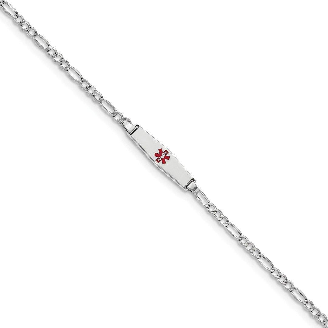ICE CARATS 14k White Gold Medical Soft Red Enamel Id W Figaro Bracel Bracelet Fine Jewelry Gift Set For Women Heart