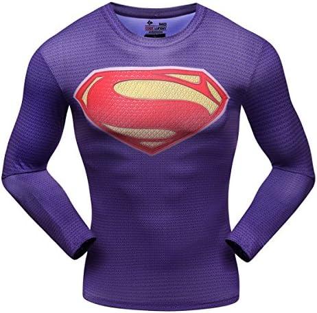 Pluma roja compresión deporte Fitness hombres camisa, Superman manga larga camiseta, hombre, color Varios colores - Superman+purple, tamaño XL: Amazon.es: Deportes y aire libre