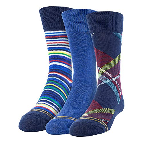 Gold Toe Boys' Little Bohemian Plaid Crew Socks, 3 Pairs, navy/red/heather blue Shoe Size: 9-2.5
