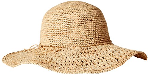 Karen Kane Women's Raffia Packable Floppy Hat, Honey, One Size