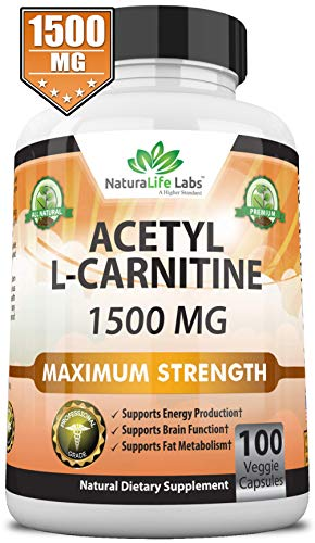 Acetyl L-Carnitine 1,500 mg High Potency Supports Natural Energy Production, Supports Memory/Focus - 100 Veggie Capsules (Best Acetyl L Carnitine Brand)