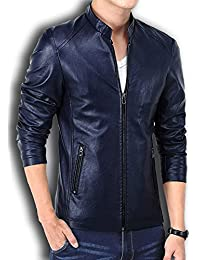 Winter PU Leather Men Jacket Standing Collar Jackets Coat