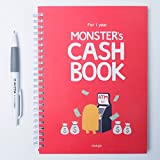 Monster's Cash Book 1year with AHZOA Pencil, Account Book, 8.3 x 6.3 Inch (Red)