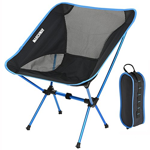 MARCHWAY Ultralight Folding Camping Chair, Portable Compact for Outdoor Camp, Travel, Beach, Picnic, Festival, Hiking, Lightweight Backpacking (Sky blue)