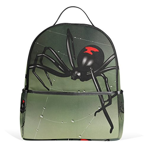 LORVIES Black Widow Spider School Backpack Lightweight Canvas Book Bag for boys girls Kids