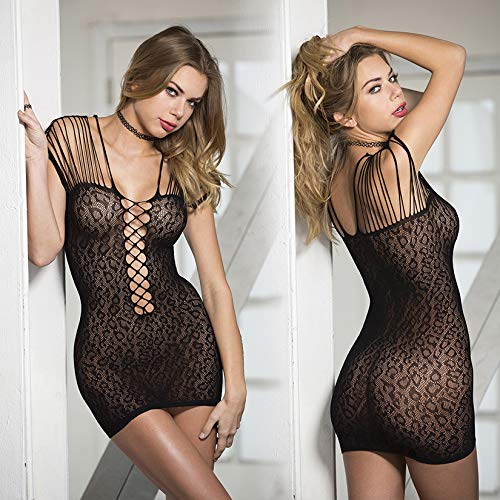 Hot Stretch Mesh Strappy Chemise-Black Leopard Print O/S