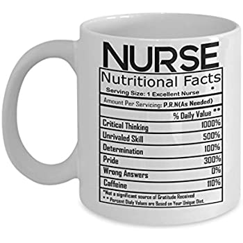 Amazon.com: Nurse Gifts Coffee Mug Nurse Nutritional Facts Label ...