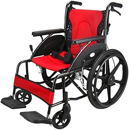 ZFAME Leichter faltender Fahrradrollstuhl, Aluminiumlegierung großes Rad, der hinteren Rollstuhl, Vier Jahreszeiten Universalrot faltet