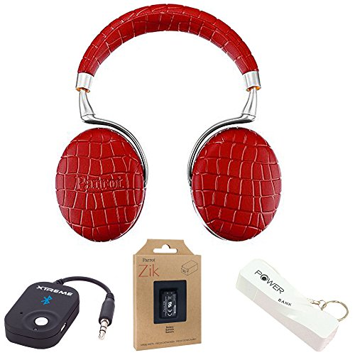 Parrot Zik 3 Wireless Noise Cancelling Touch Control Bluetooth Headphones (Red Croc) w/Headphone Bundle Includes,Battery,Bluetooth wireless Music Recvr w/Microphone,Port.Keychain Power Bank