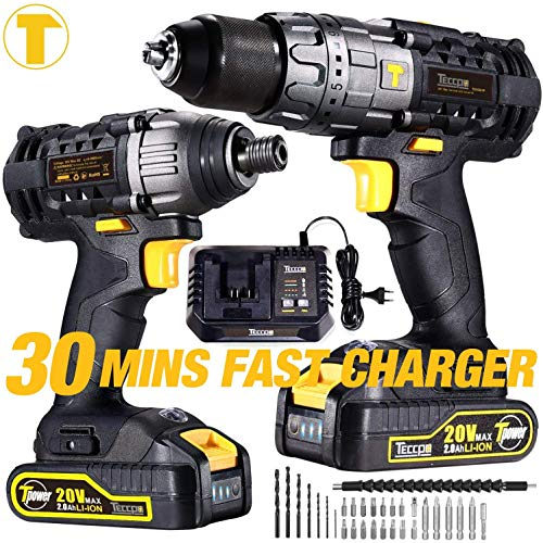 "TECCPO Drill and Impact Driver Combo Kit, 20V Cordless 1/2"" Hammer Drill and 1/4"" Impact Drill, 30-Min Fast Charger, 2X2.0Ah Li-Ion Batteries, 32pcs Accessories"