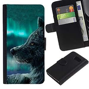 Paccase / Billetera de Cuero Caso del tirón Titular de la tarjeta Carcasa Funda para - Wolf Blue Sky Wild Dog Animal Forest Fairytale - Samsung Galaxy S6 SM-G920