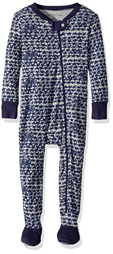 Burt's Bees Baby Baby Boys' Soft Organic GOTS Certified All Over Print Zip Front Non-Slip Footed Sleeper Pajamas, Starry Night Star Cluster, 18 (Front Cluster)