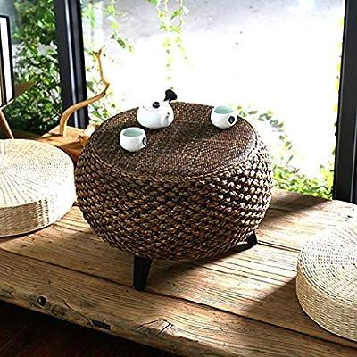 Muebles y accesorios de jardín Mesa pequeña Mesa redonda de ratán con patas Balcón Mesa de té Tatami Mesa baja Sala de estudio Mesita de noche, hecha a mano Mesas (Color :