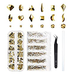 Round & Multi-Shape Gold Crystal RhinestoneFor Nail Art