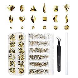 Round & Multi-Shape Gold Crystal RhinestoneFor Nail Art