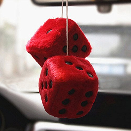 Red MRCARTOOL 3 inch Pair of Retro Square Mirror Hanging Dice Couple Fuzzy Plush Dice with Dots for Car Interior Ornament Decoration