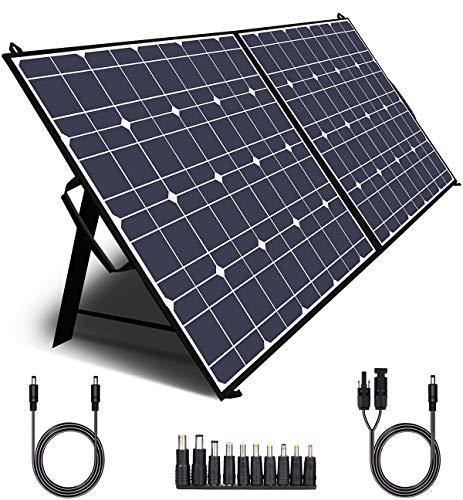 TWELSEAVAN Panel solar de 100 W, cargador de panel solar plegable portátil para Jackery 160/240/500/1000 Power Station / Suaoki / Goal Zero Yeti / Rockpals / Generador solar, con puerto QC3.0, puerto tipo C