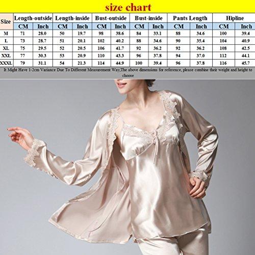 Zhhlinyuan Elegant Womens Home Silk Pajamas Fashion Three-piece Long Sleeves Nightwear Set Pale Pink