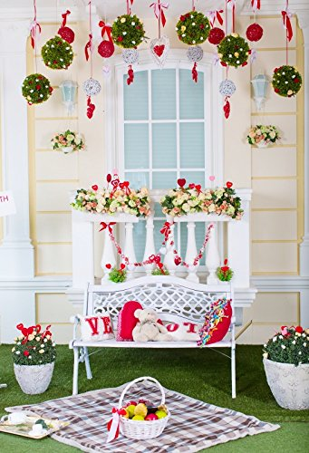 (Yeele Christmas Backdrops 6x9ft /1.8 X 2.7M Bench Flower Railing Lawn Fruit Basket Pink and White Brick Wall Pictures Adult Artistic Portrait Photoshoot Props Photography Background)