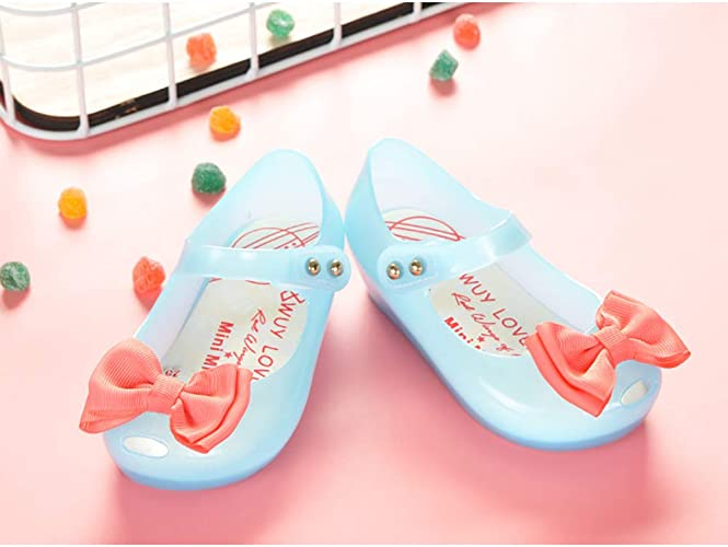 XinYiQu Girls Led Light Up Jelly Shoes Bowknot Summer Toddler Sandals