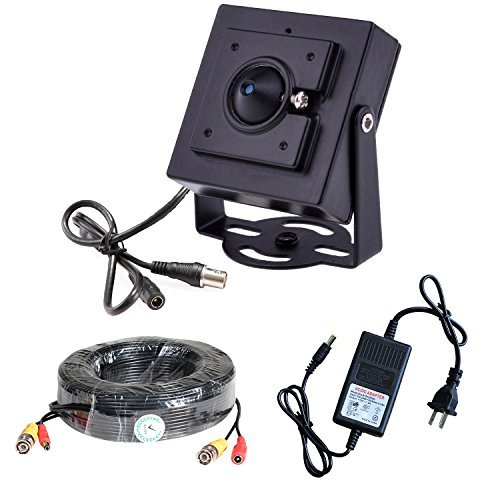 Vanxse Mini Pinhole Sony CCD 800tvl Cctv Security Camera Indoor Hidden Surveillance Kit with Camera Power Supply and Camera 20m Extension Cable