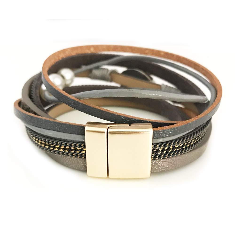 Beige-druzy Stone AZORA Womens Leather Wrap Bracelet Handmade Pearls Beads Cuff Bangle Bracelets for Women Girls