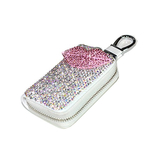 Bestbling Bling Bling Car Key Holder 3D Handmade Leather Auto Key Case Car Key Gourd Leather Holder Cover Case with Luxury Bling Crystal Diamond Rhinestones (Lips Pink)