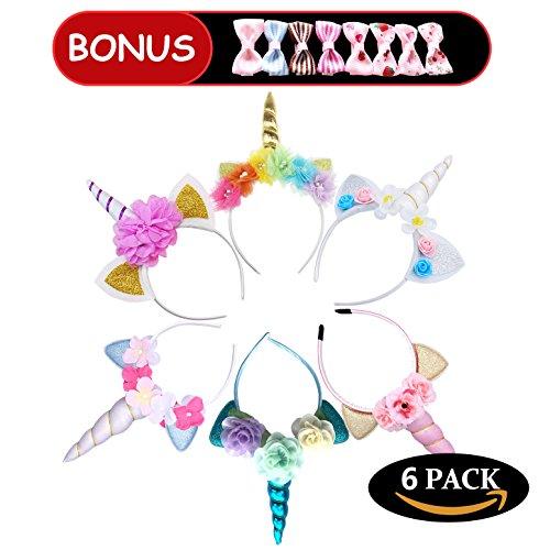 6 Packs Multi-Color Unicorn Childrens Party Hat Horn