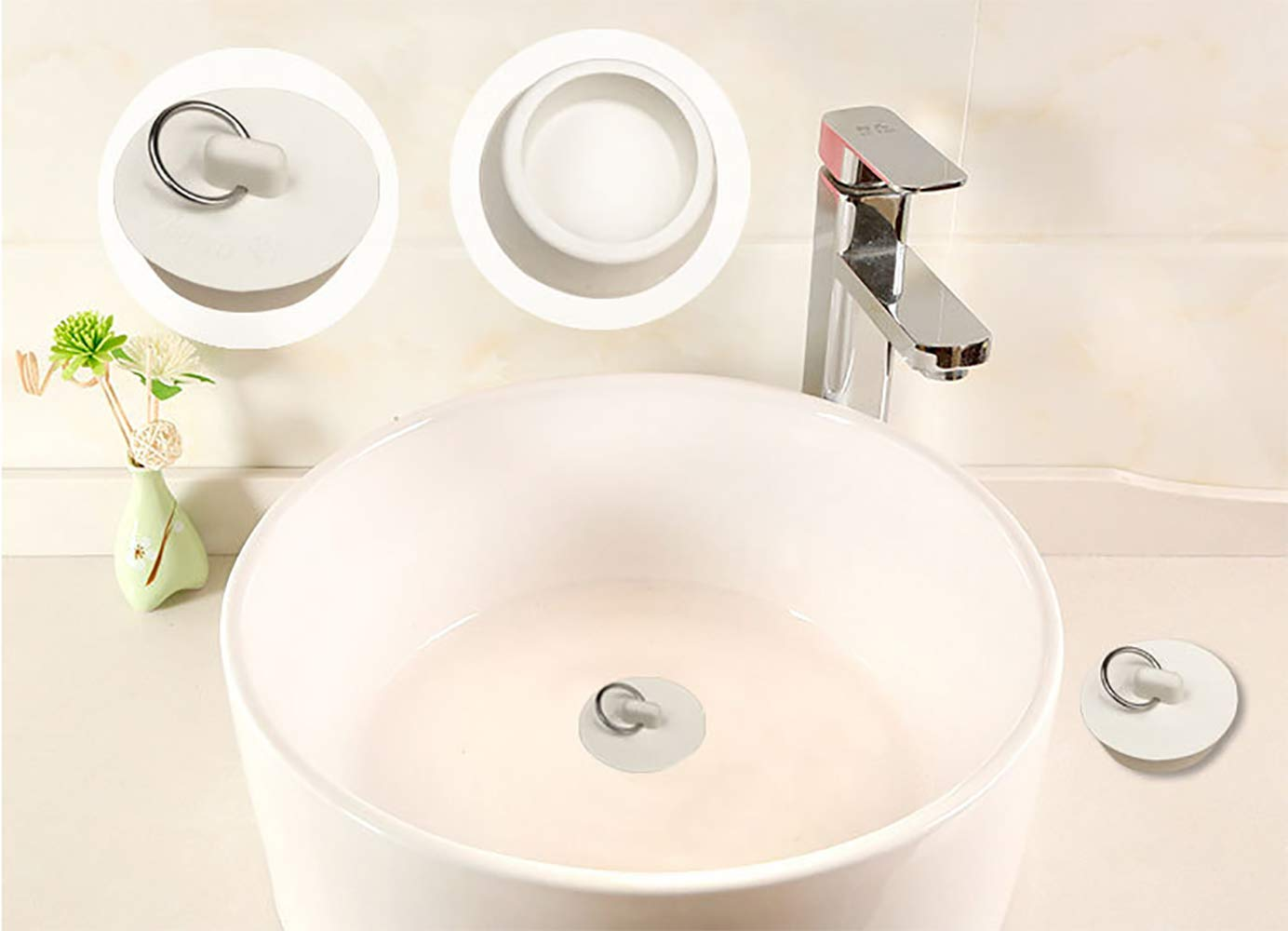 LHKJ Rubber Sink Stopper Set Drain Stopper Plug with Hanging Ring for Bathtub Kitchen and Bathroom 4 Sizes White