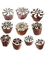 كتل طباعة خشبية نسيجية لطباعة تصميم فني صغير دائري (مجموعة من 10)