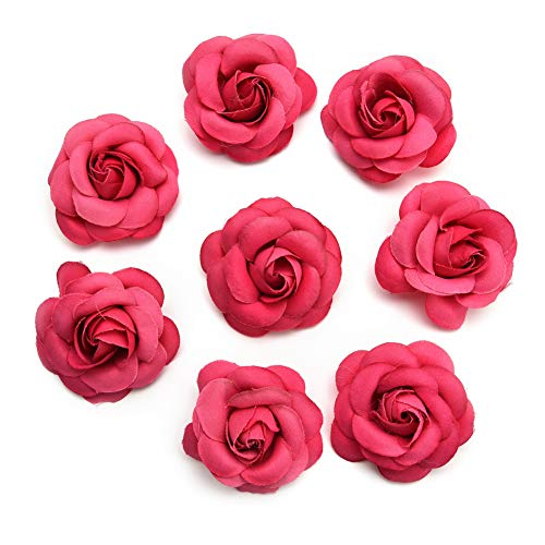 Silk Flower in Bulk Wholesale for Crafts Fake Flower Rose Head Silk Rose Bud Wedding Decoration DIY Party Festival Home Decor Wreath Headdress Accessories Clip Art Flower 20pcs 5cm (Rose red)