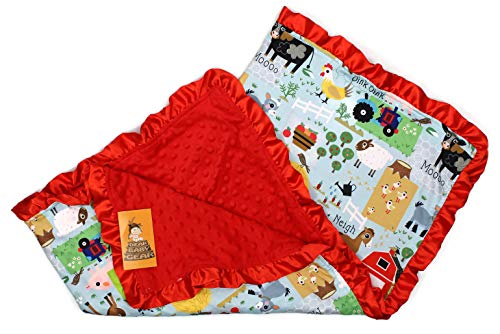 Dear Baby Gear Baby Blankets, Farm Life Animals, Tractor, Red Minky, 32 inches by 32 inches