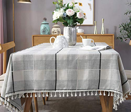 fiercewolf Linen Rectangle Tablecloth Tassel Small Table Cloth Heavy Weight Cotton Fabric Dust-Proof Table Cover Kitchen Dinning, Rectangle/Oblong, 39 x 55 Inch, Gray White ()