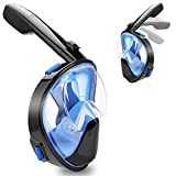 Asmeten Full Face Real Anti Fog Snorkel Mask 2018 Foldable Panoramic View Snorkeling Mask with Detachable Camera Mount, Dry Top Set Easy Breath Anti-leak for Adults and Kids