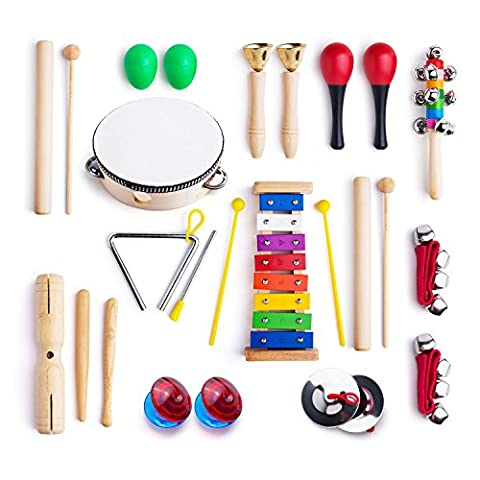 Frunsi 12 in 1 Musical Instruments Xylophone Set Percussion Toy Rhythm Band Set Drum Maracas Bells Egg Shaker with Carry Bag for Kids, Toddler, (Musical Instrument Accessories)