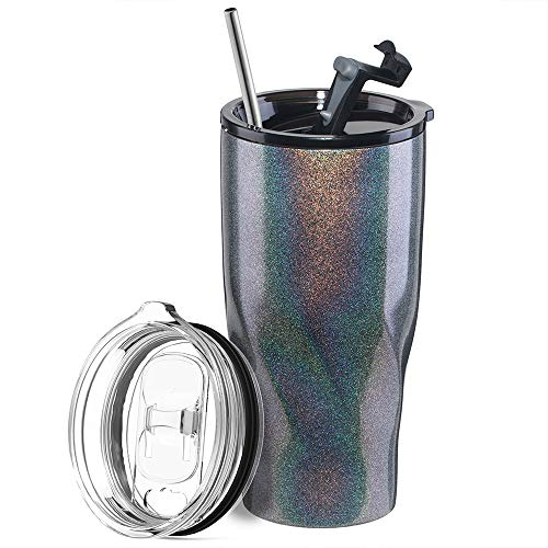 Marchpower 20OZ Travel Mug with Straw, 3-Layer Chameleon Coating, Stainless Steel Double-Walled Vacuum Insulation Travel Tumbler with Slide and Leak-Proof Lid, Keep Coffee, Tea Hot or Ice (Gray)