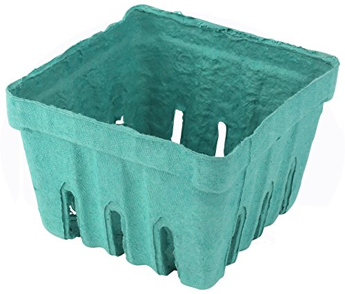 - Green Molded Pulp Fiber Berry/Produce 1 Pint Vented Basket/Container by MT Products - (15 Pieces)