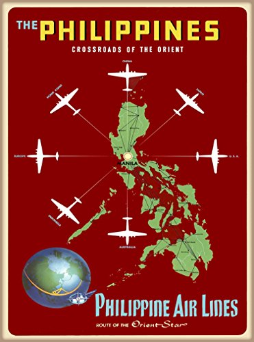 A SLICE IN TIME The Philippines Crossroads of the Orient Philippine Air Lines Vintage Airline Airlines Travel Advertisement Art Poster Print. Measures 10 x 13.5 inches