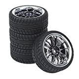 rc tires and wheels - Shaluoman 12-Spoke Plating Hub Wheel Rims With Soft Rubber Tires For RC 1:10 On Road Car Color Black
