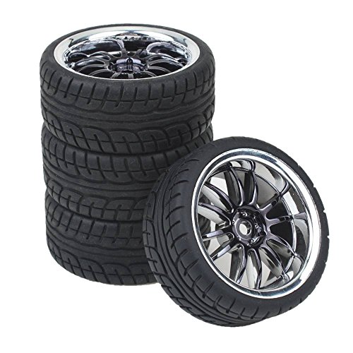 lating Hub Wheel Rims With Soft Rubber Tires For RC 1:10 On Road Car Color Black (Rc Wheels Tires)